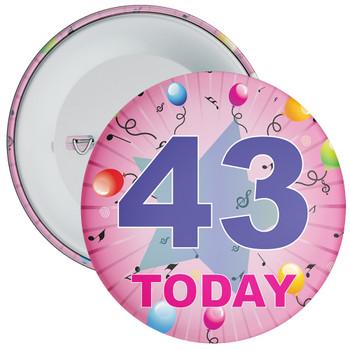 43rd Birthday Badge Pink