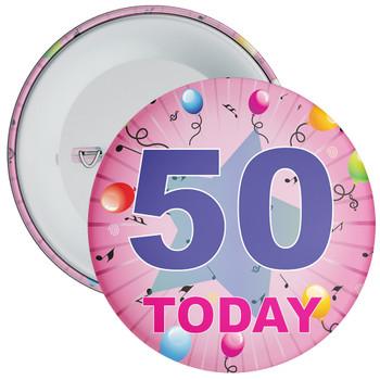 50th Birthday Badge Pink