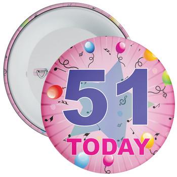 51st Birthday Badge Pink