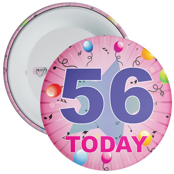 56th Birthday Badge Pink