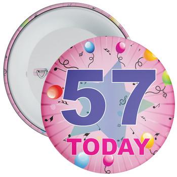 57th Birthday Badge Pink