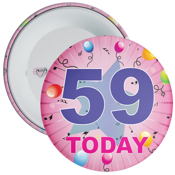 59th Birthday Badge Pink