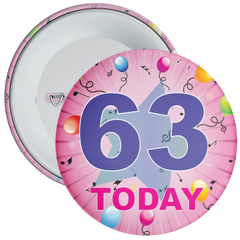 63rd Birthday Badge Pink