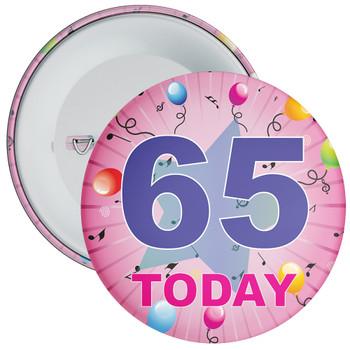 65th Birthday Badge Pink