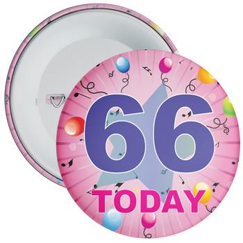 66th Birthday Badge Pink