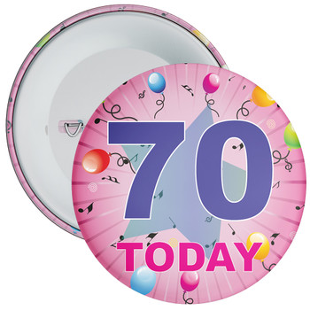 70th Birthday Badge Pink