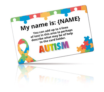 Personalised Autism Card with Card Holder and Lanyard