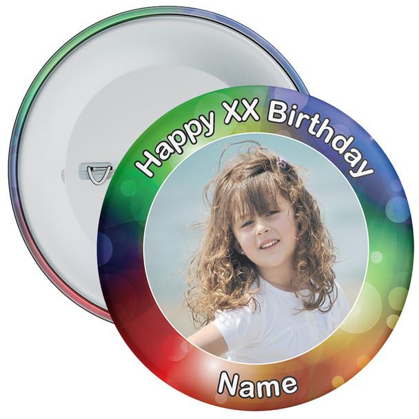 Colourful Customisable Birthday Photo Badge 4