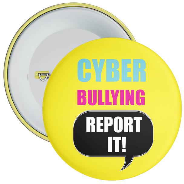 School Cyber Bullying Report It Anti Bullying Badge (yellow)