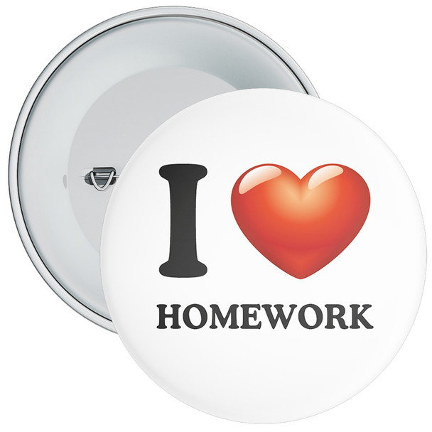School I Love Homework Badge