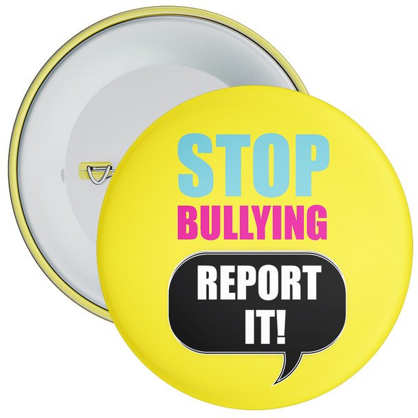 School Stop Bullying Report It Anti Bullying Badge (yellow)