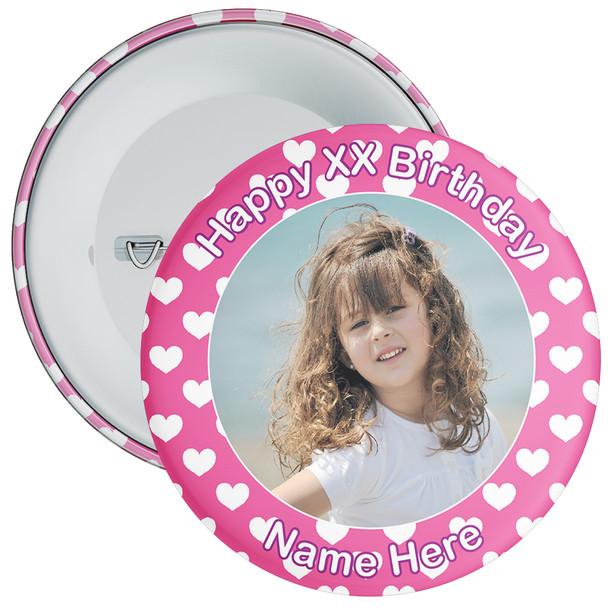 Heart Styled Customisable Birthday Photo Badge 5