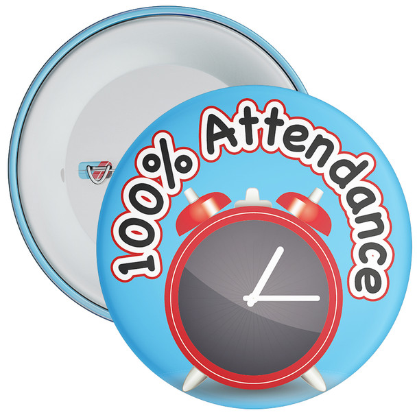 School 100% Attendance Badge with Blue Background