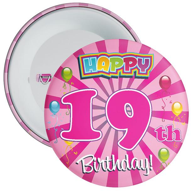Pink 19th Birthday Badge