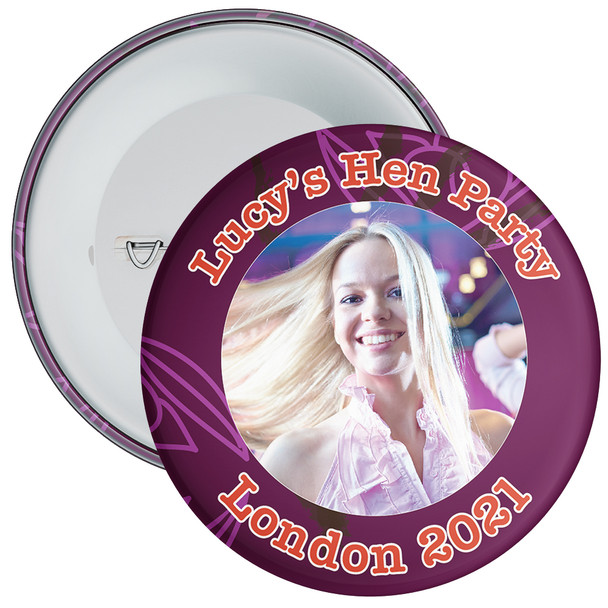 Customisable Burgandy Hen Party Photo Badge