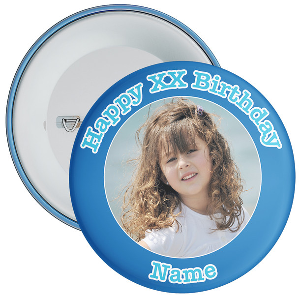 Blue Customisable Birthday Photo Badge 2