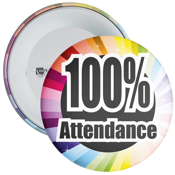 School 100% Attendance Badge with Colourful Background