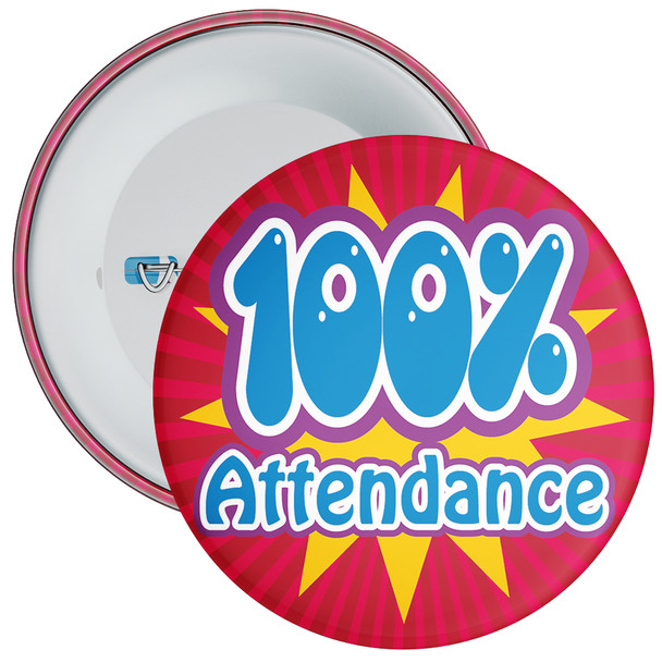 School 100% Attendance Badge with Red Background
