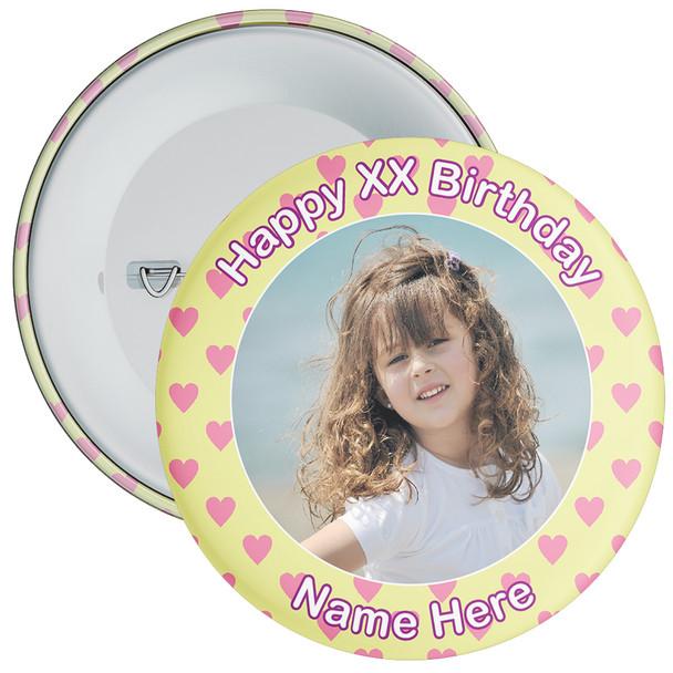 Heart Styled Customisable Birthday Photo Badge 6