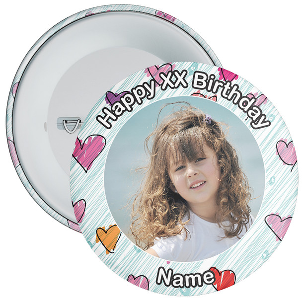 Heart Styled Customisable Birthday Photo Badge 2