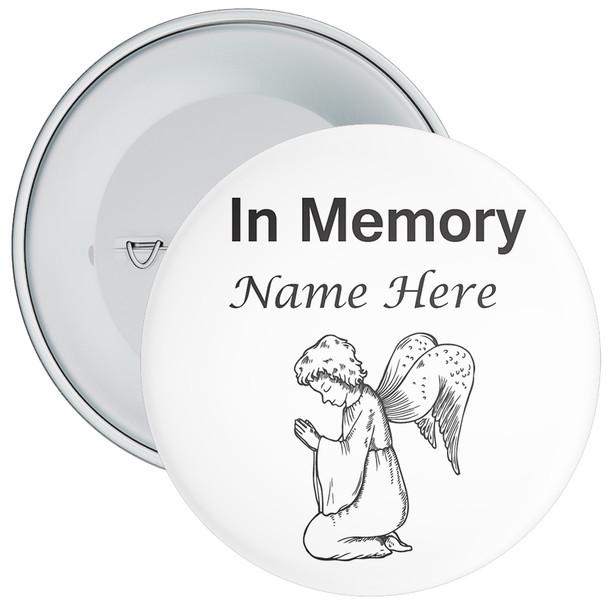 White In Memory Badge with Custom Name