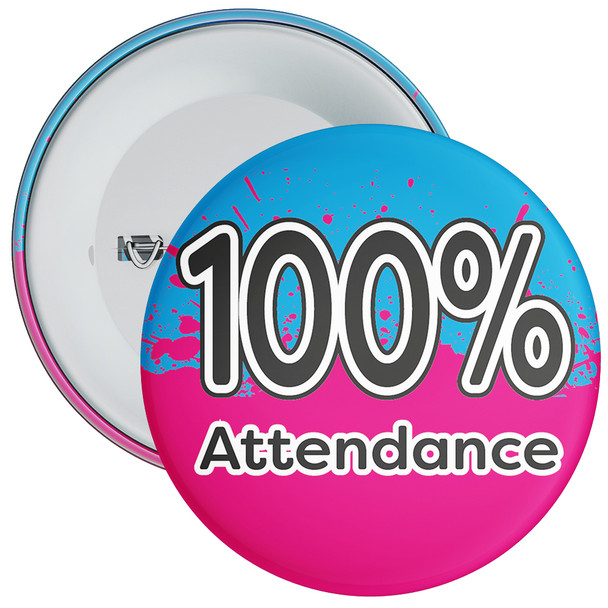 School 100% Attendance Badge with Blue/Pink Background