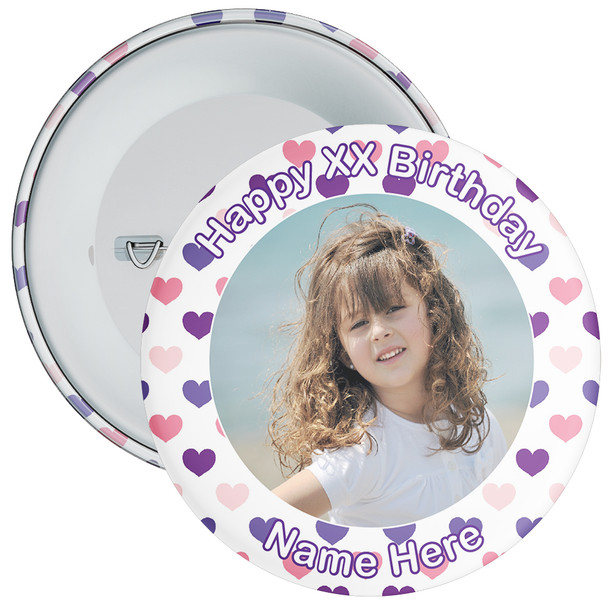 Heart Styled Customisable Birthday Photo Badge 9