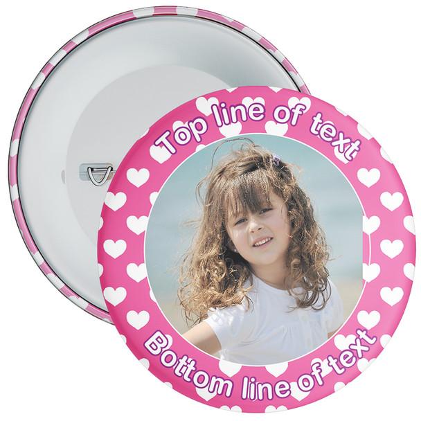 Pink Heart Border Styled Photo Badge
