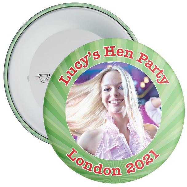 Customisable Green Hen Night Photo Badge
