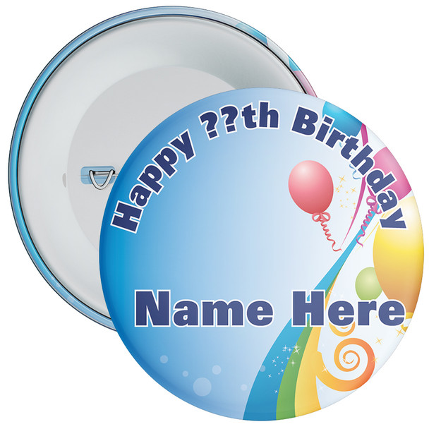 Blue Customisable Birthday Badge