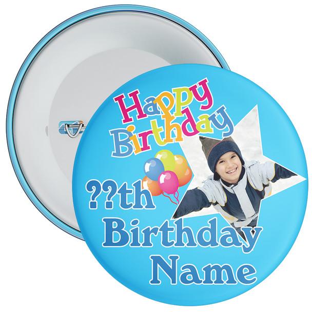 Blue Customisable Birthday Photo Badge