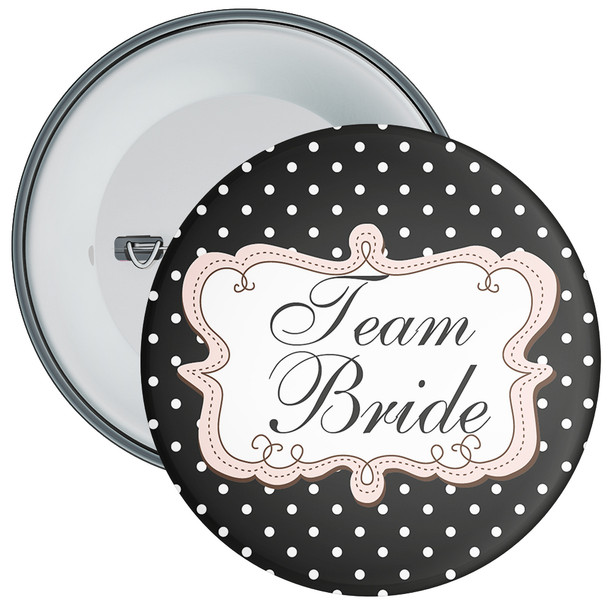 Black Polka Dot Style Team Bride Hen Party Badge