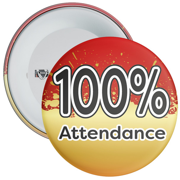 School 100% Attendance Badge with Red/Gold Background