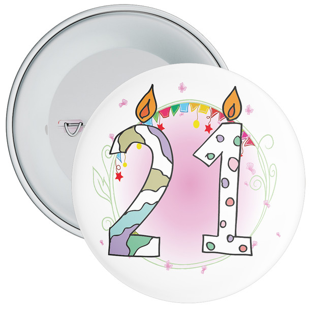 21st Birthday Badge with Candles and Pink Background