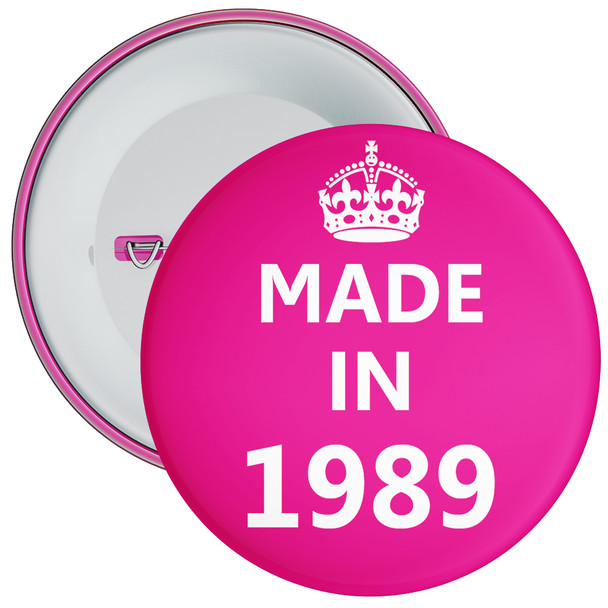 Pink Made in 1989 Birthday Badge
