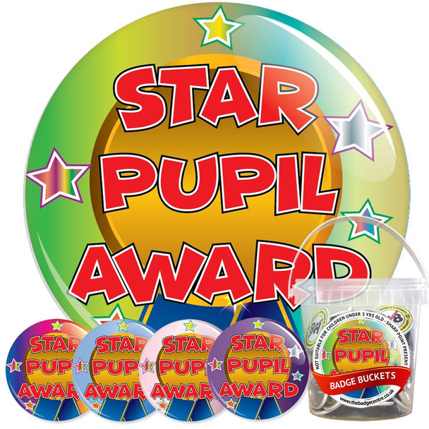 Pack of School Star Pupil Award Badges - Badge Bucket 30