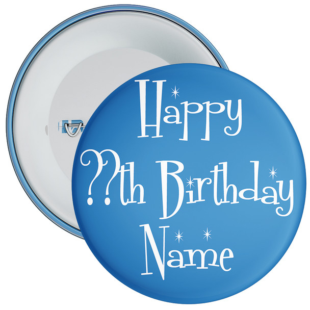 Blue Customisable Birthday Badge 3