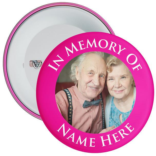 In Memory Of Photo Badge (pink)