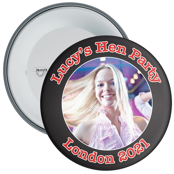 Customisable Black Hen Party Photo Badge