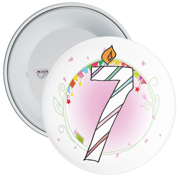 7th Birthday Badge with Candles and Pink Background