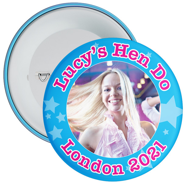 Customisable Blue Stars Hen Party Photo Badge