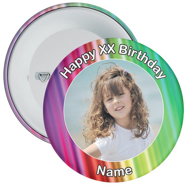 Colourful Customisable Birthday Photo Badge