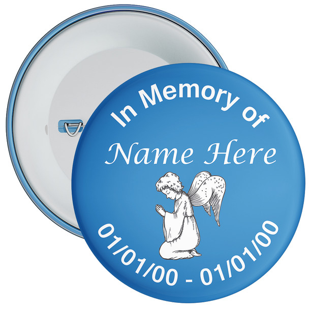 Blue In Memory Badge with Custom Name & Dates