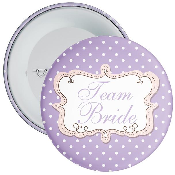 Lilac Polka Dot Style Team Bride Hen Night Badge