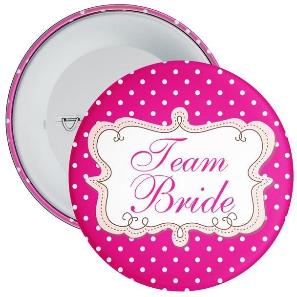 Pink Polka Dot Style Team Bride Hen Badge