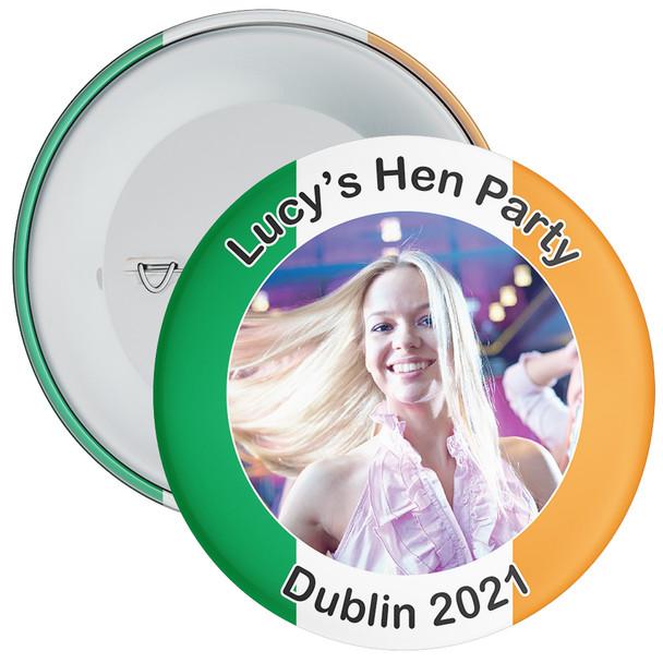Customisable Irish Themed Photo Hen Party Badge