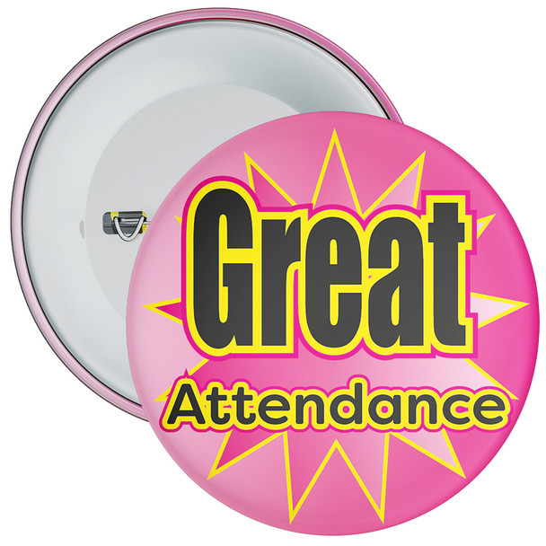 School Great Attendance Badge with Pink Star Background