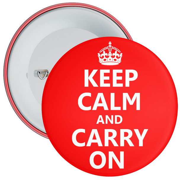 Red Keep Calm and Carry On Badge