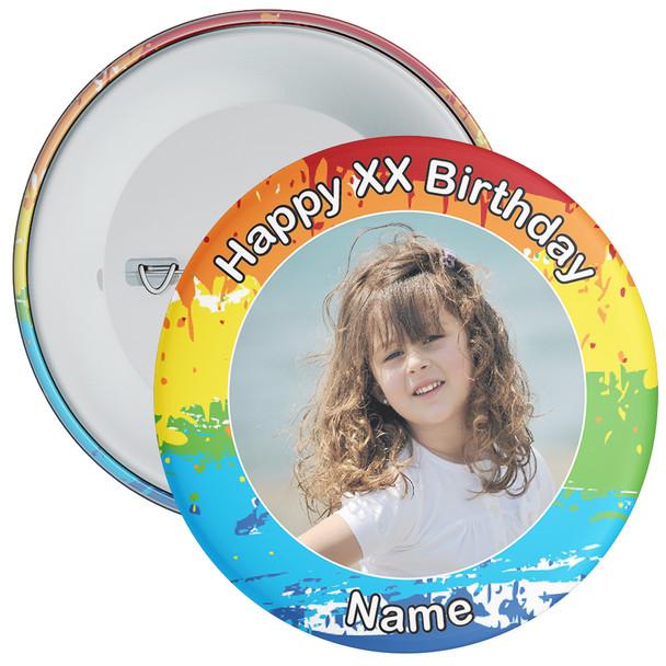 Colourful Customisable Birthday Photo Badge 1