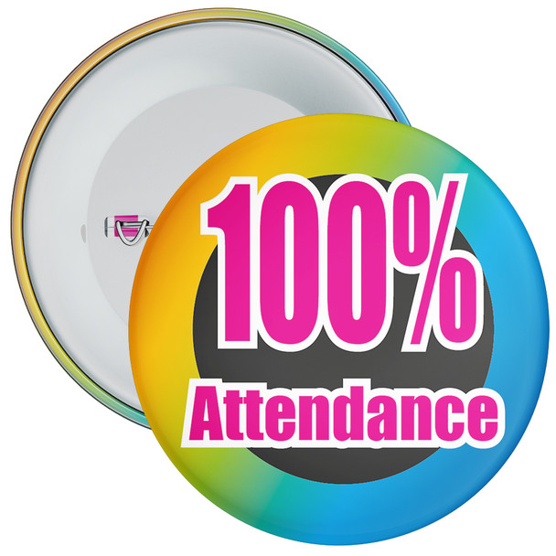 School 100% Attendance Badge with Colourful Background 2